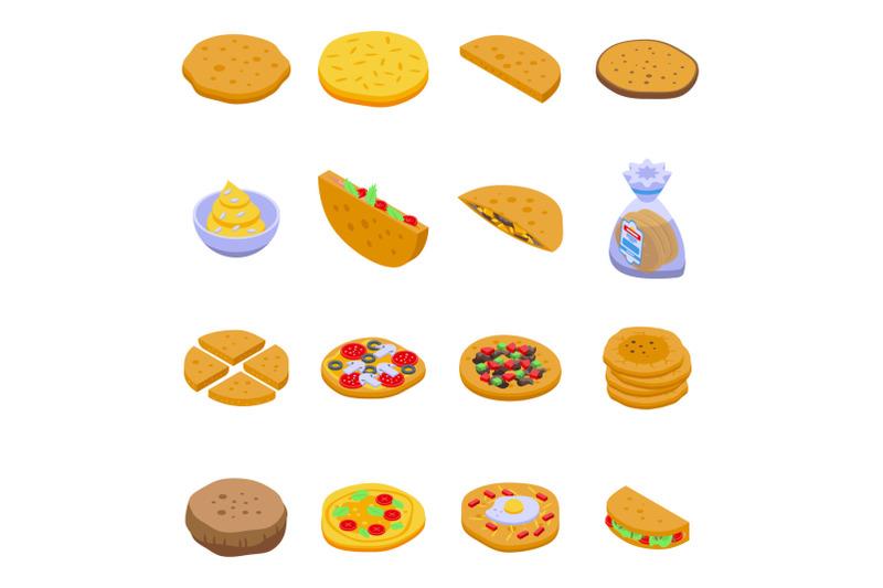 pita-bread-icons-set-isometric-style