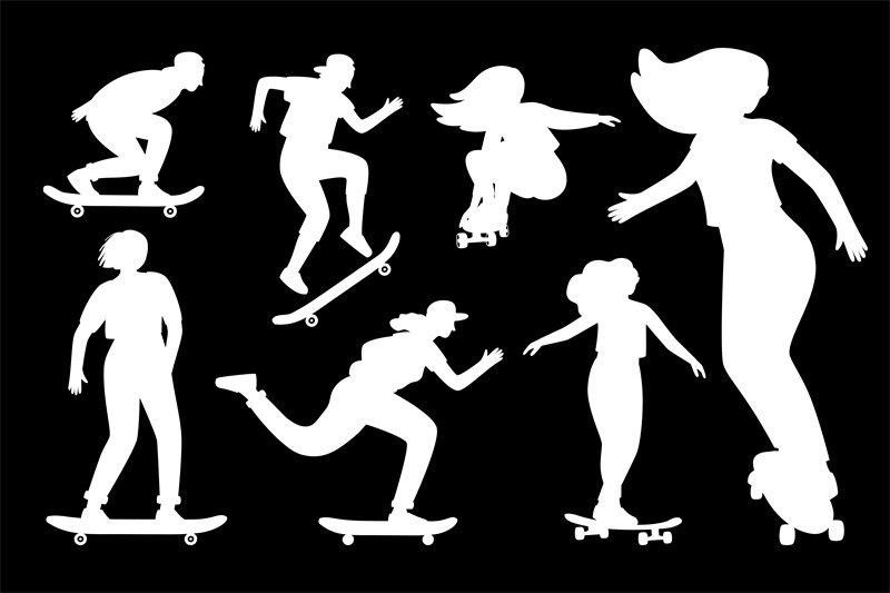 silhouettes-on-skateboard
