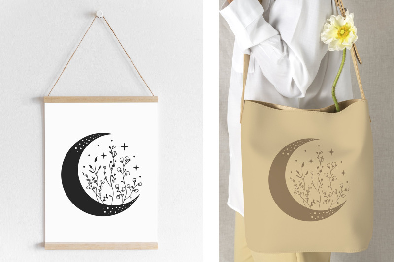 crescent-moon-with-wildflowers-svg-celestial-svg