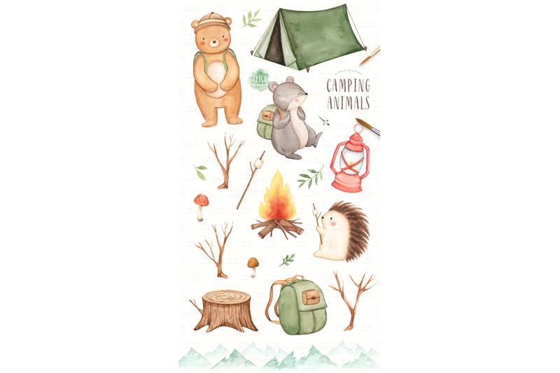 camping-animals-watercolor-clip-arts