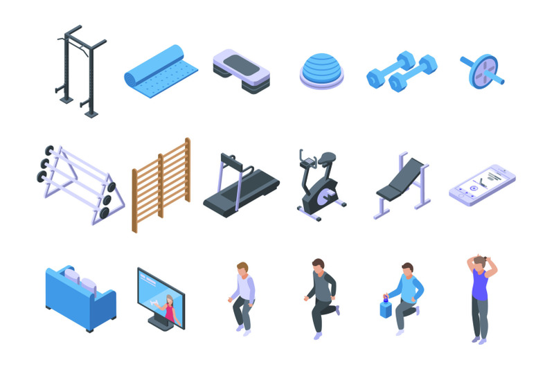 home-gym-icons-set-isometric-style