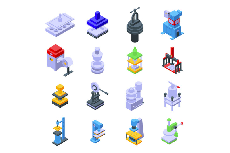 press-form-machines-icons-set-isometric-style
