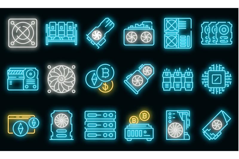 mining-farm-icons-set-vector-neon