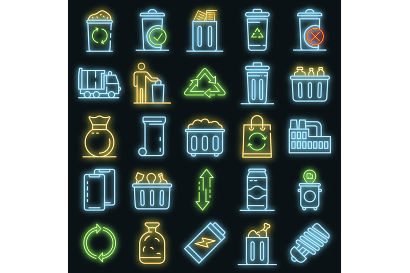 garbage-icons-set-vector-neon