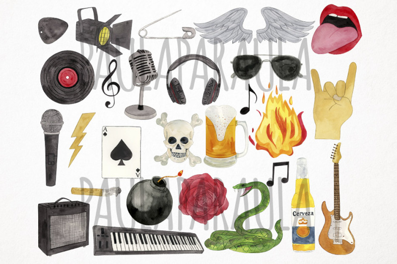 watercolor-rock-and-roll-clipart-heavy-metal-clipart