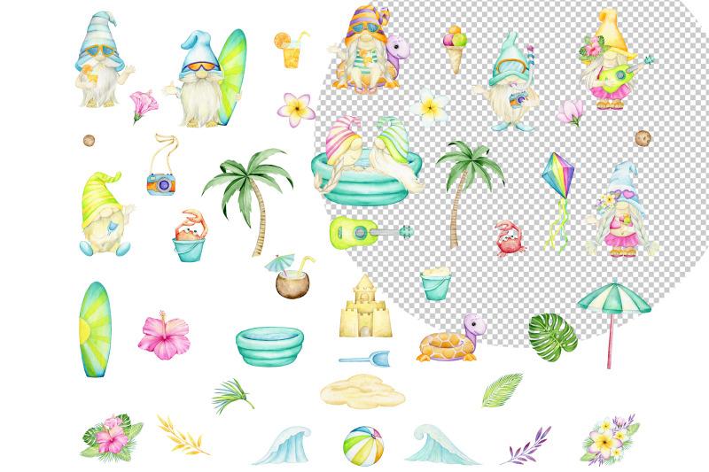gnomes-watercolor-clipart-beach-summer-set-pool-party-hawaiian-de