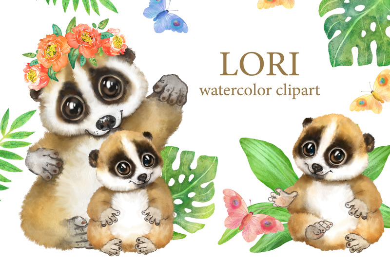 lori-watercolor-clipart-cute-tropical-animal-nursery-decor