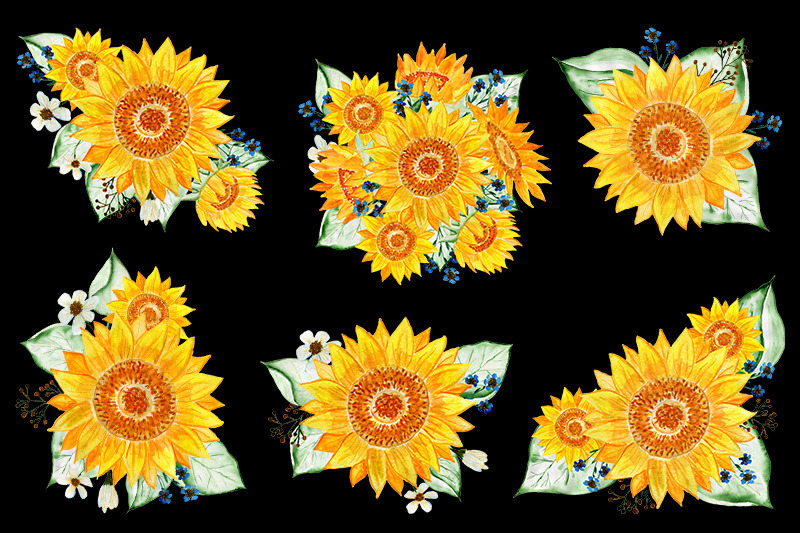 sunflowers-watercolor-flowers-gold-frames