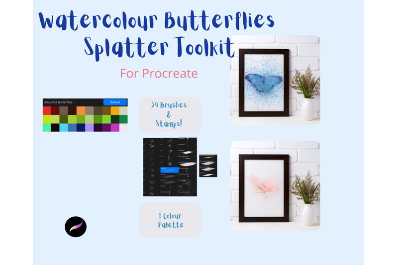 watercolour-splatter-butterflies-toolkit-for-procreate-amp-colour-palett
