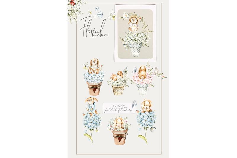 floral-cute-bunnies-watercolor-baby-clipart