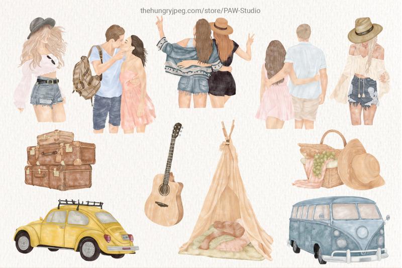 summer-boho-travel-girl-couple-car-clipart-wild-flower-leaves