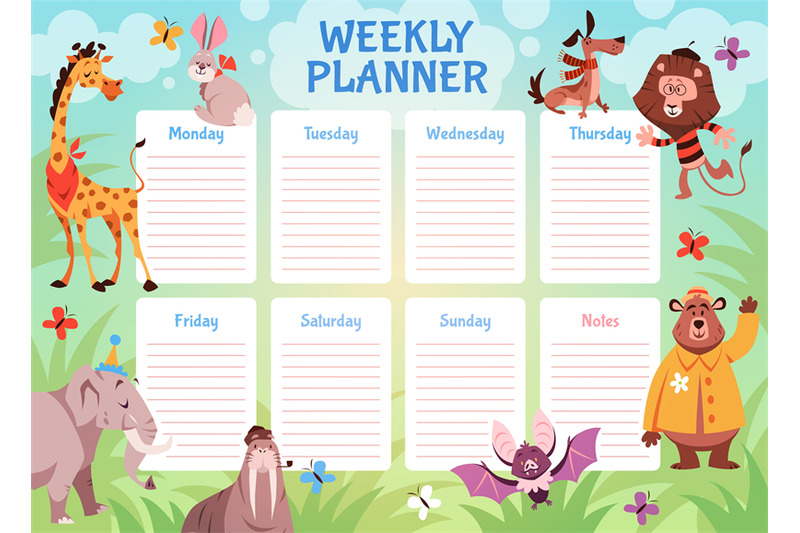 kids-animals-weekly-planner-school-student-schedule-with-wild-fauna