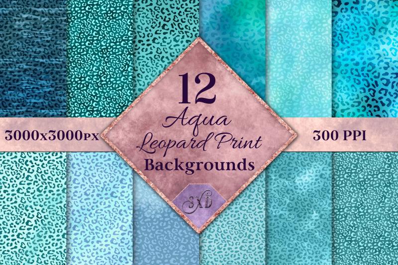 aqua-leopard-print-backgrounds-12-image-textures-set