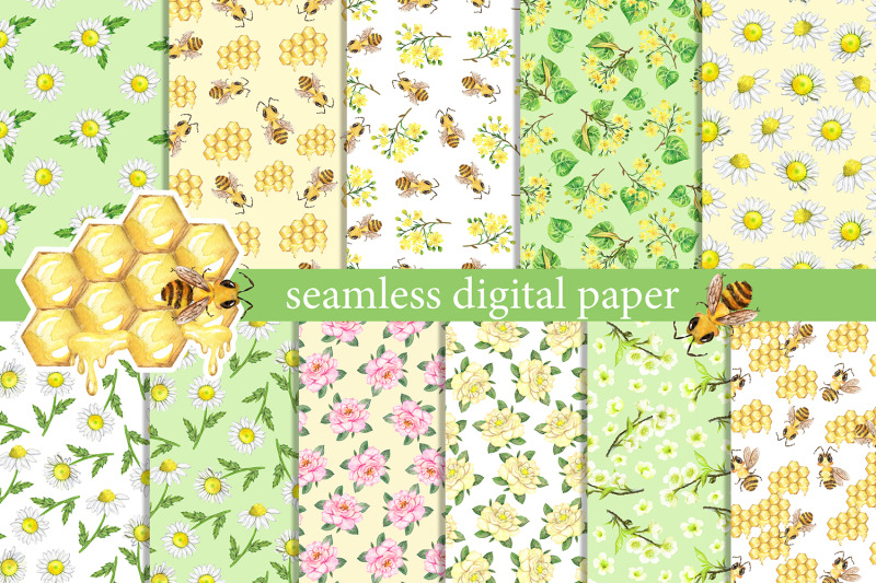 summer-digital-paper-watercolor-summer-flowers-insects-bees-daisie