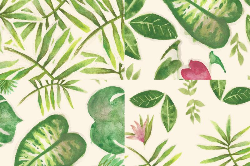 watercolor-tropical-plants-patterns