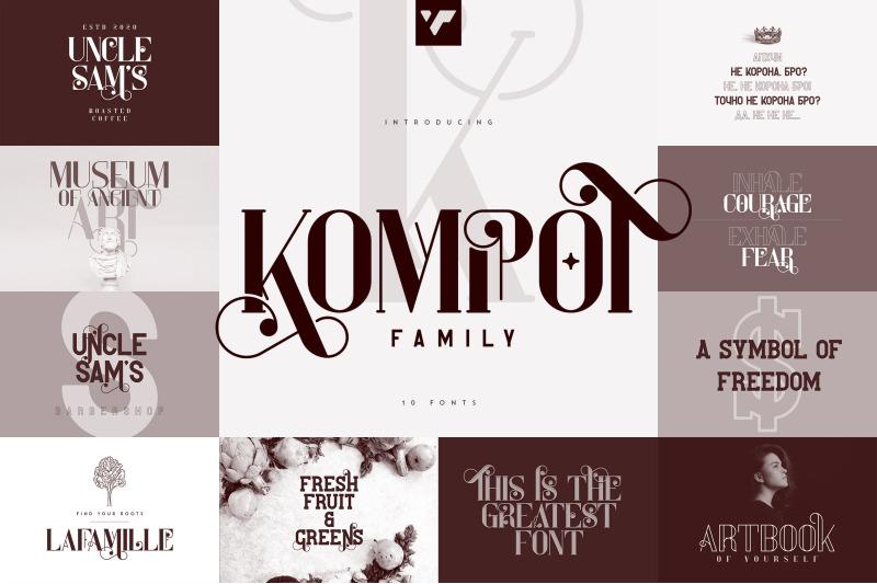 kompot-family-10-fonts