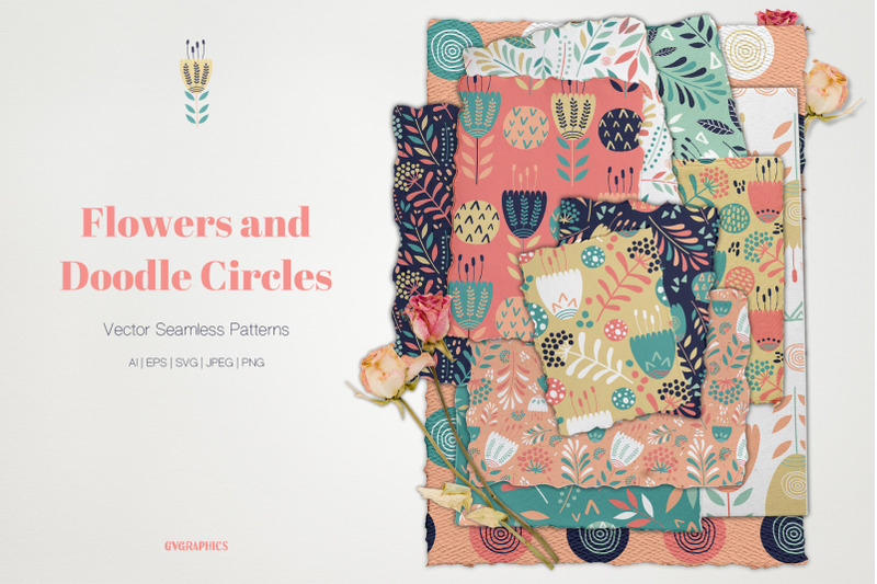 flowers-and-doodle-circles-vector-patterns