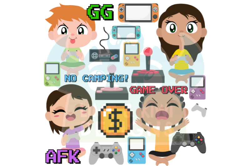gamer-kids-clipart-lime-and-kiwi-designs