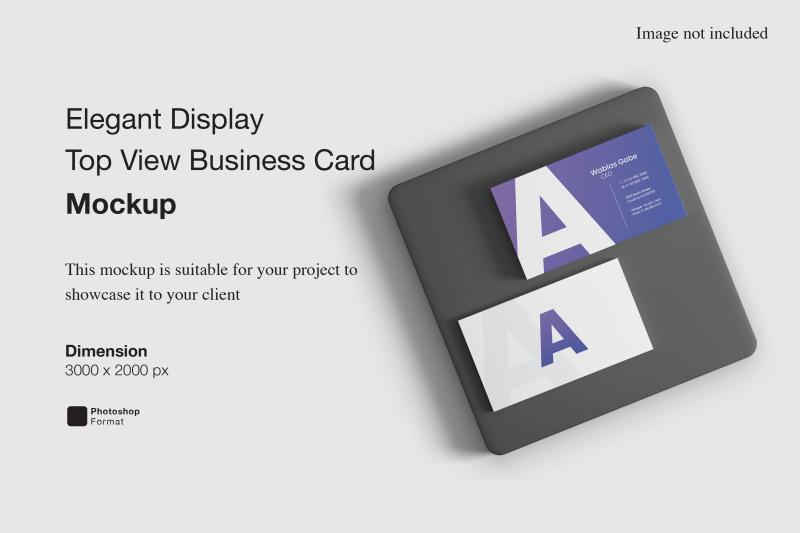 Download Elegant Display Top View Business Card Mockup Free Mockups