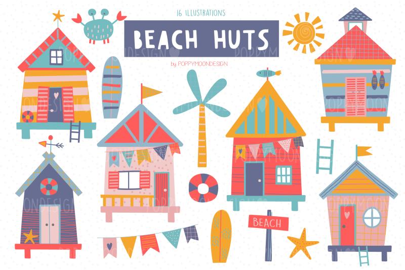 beach-huts-clipart-set