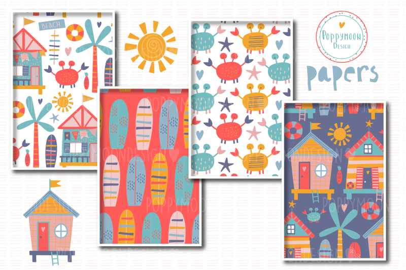 beach-huts-paper-set