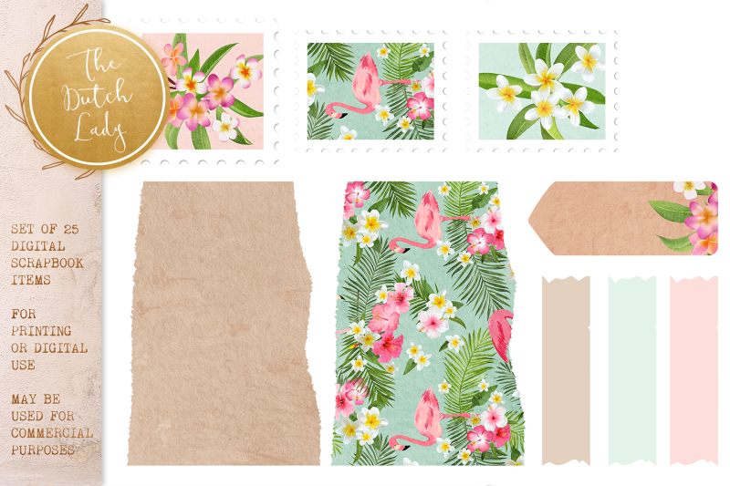scrapbook-items-clipart-set-tropical-flowers