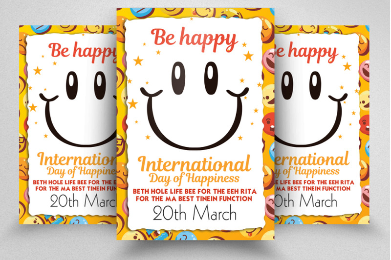 international-happiness-day-flyer-template