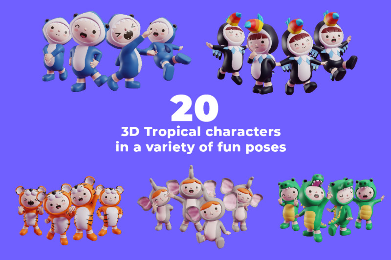 tropical-friends-3d-characters-and-elements