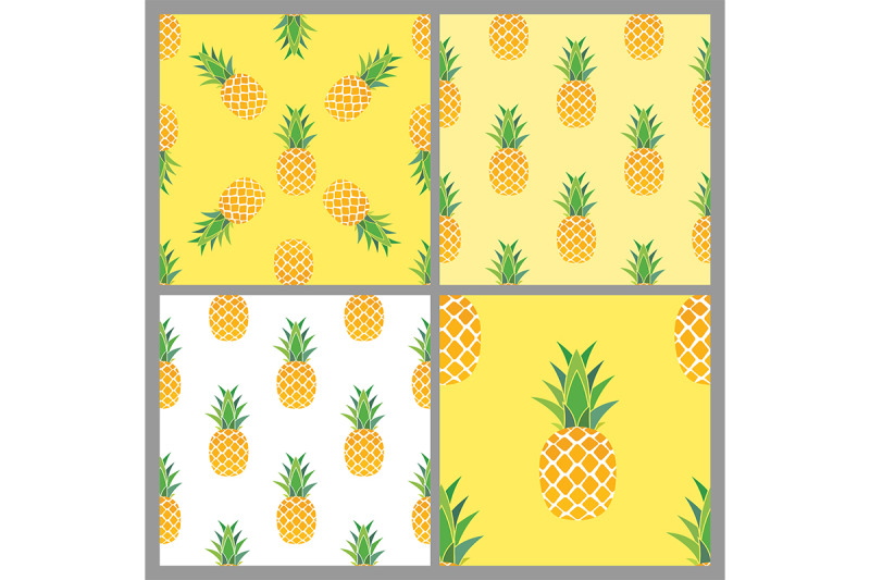 pineapple-seamless-pattern-background-collection-set