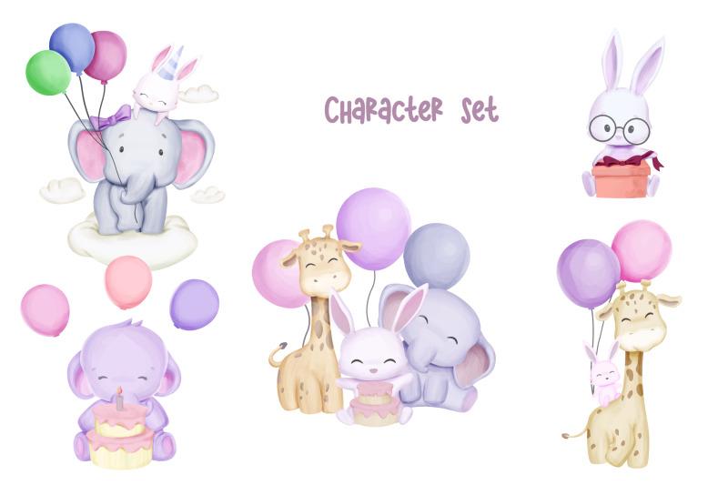 animal-birthday-character-set