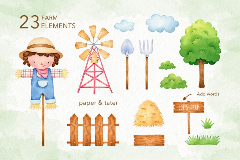 watercolor-cute-farm-animals-clipart-farm-baby-nursery-png