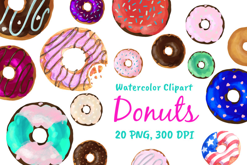 watercolor-doughnuts-graphics-donut-bakery-clipart-png