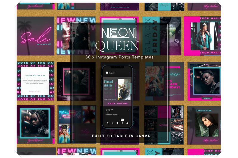 neon-instagram-posts-templates-for-canva