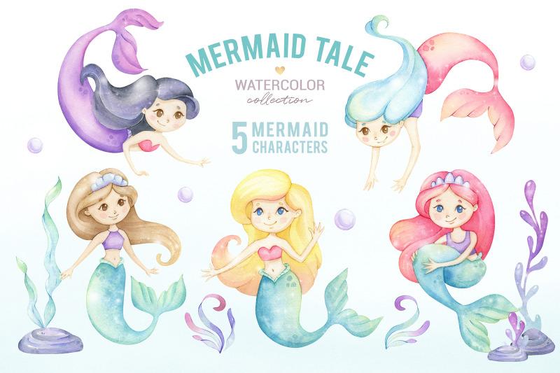 cute-mermaid-watercolor-clipart