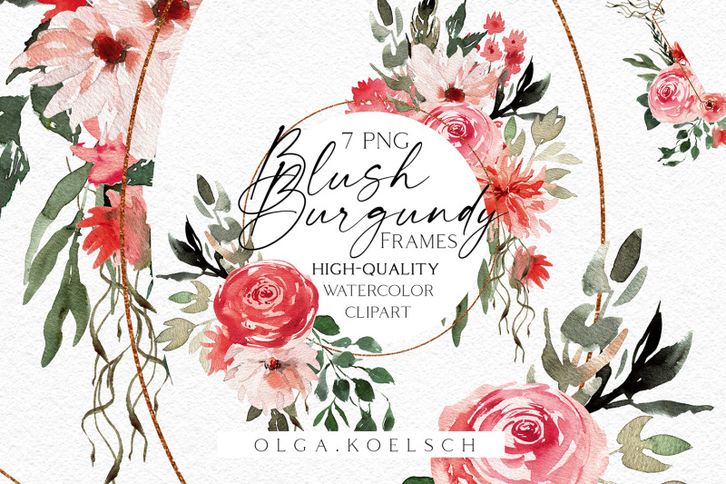 boho-frames-clipart-blush-and-burgundy-clipart-watercolor-pink-png