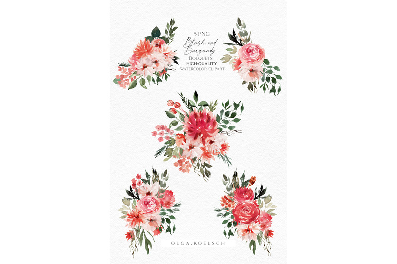 boho-bouquet-clipart-blush-and-burgundy-clipart-watercolor-pink