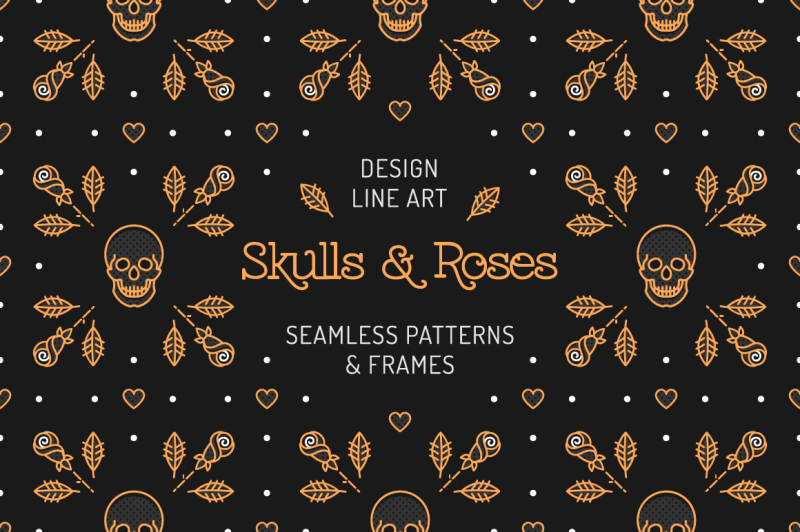 skull-amp-roses-patterns-frames