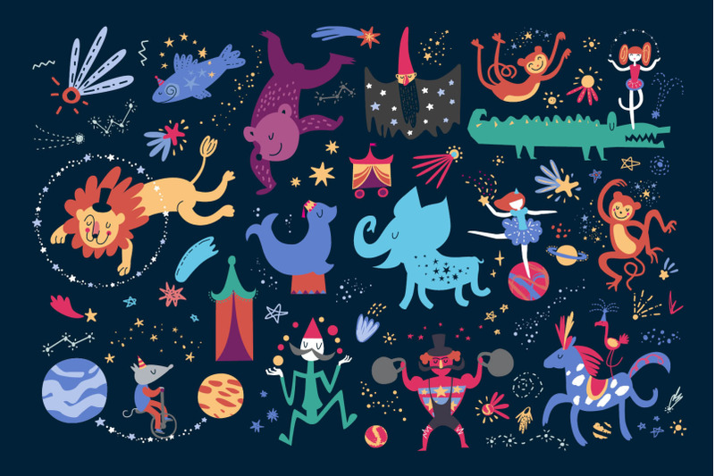 space-circus-graphic-set
