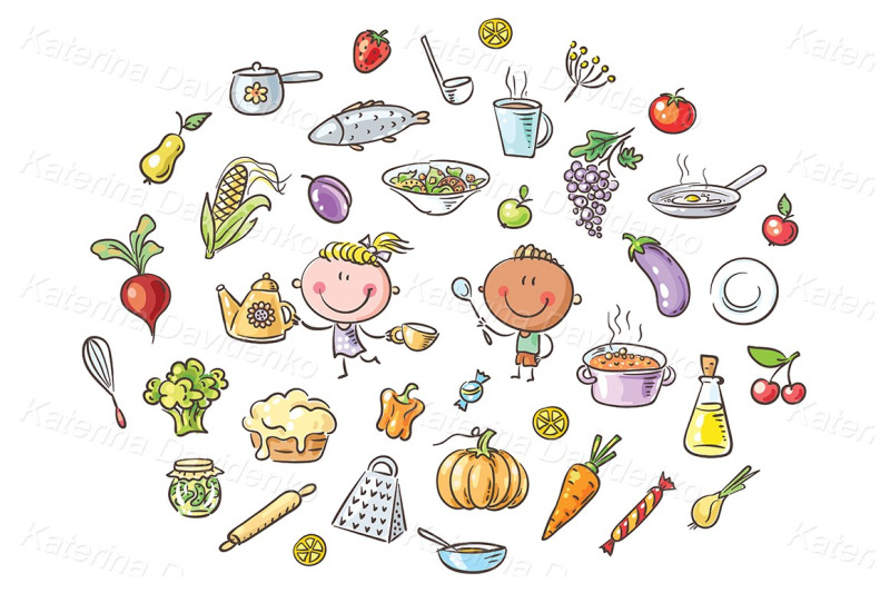 kids-clipart-cooking-food-set