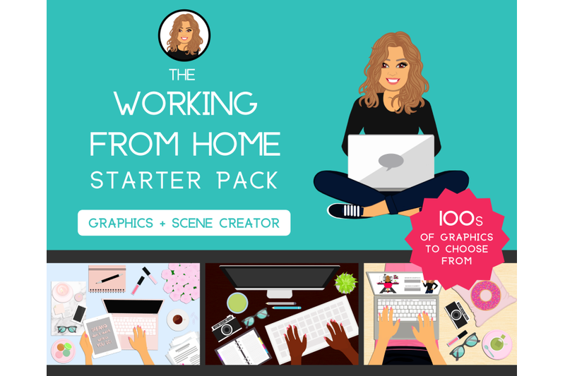 working-from-home-starter-pack-graphics-female-girl-logo-design-feminine-scene-creator-blog-desk-website-business-cards