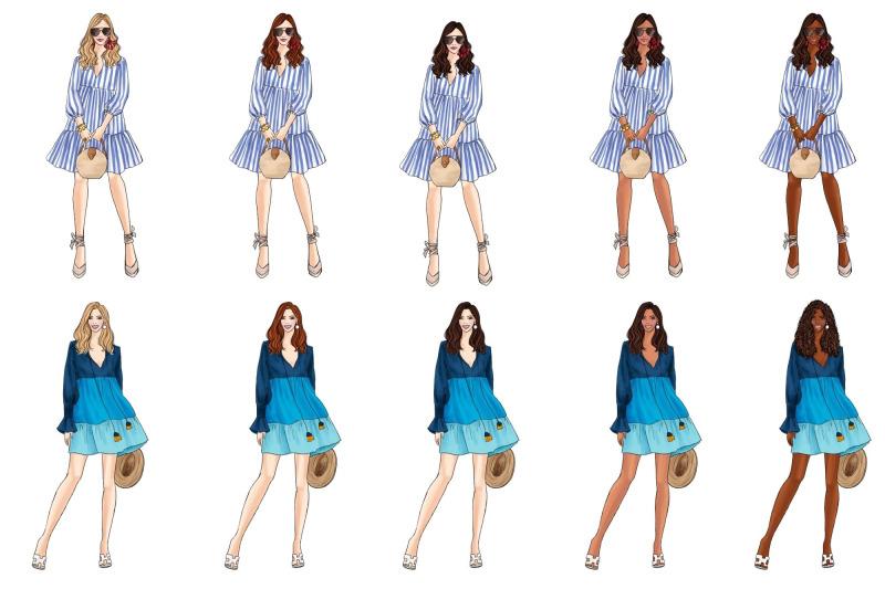 girls-in-summer-dresses-clipart-set