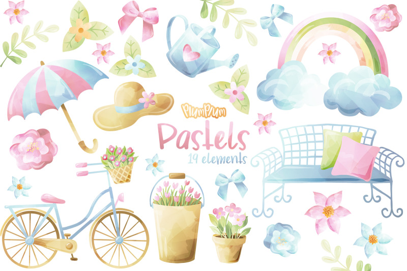 pastels-watercolor-cliparts