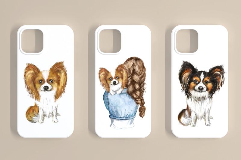 papillon-watercolor-clipart-dogs-papillon-clipart-favorite-pet