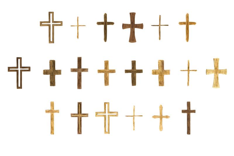 watercolor-wooden-crosses