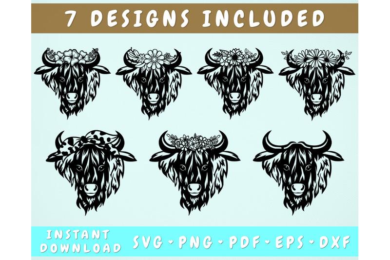 7-highland-cow-svg-heifer-with-flower-crown-svg-heifer-with-bandana