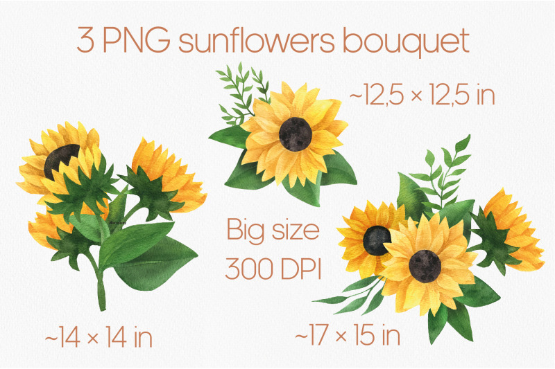sunflower-bouquet-watercolor-clipart-yellow-flowers-png