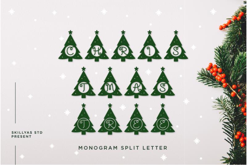 christmas-tree-monogram-split-letter
