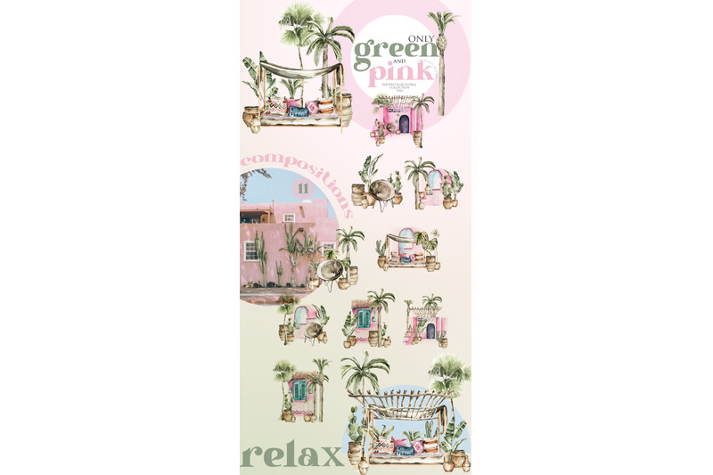 tropical-retro-collection-arch-palm-leaves-pink-flowers