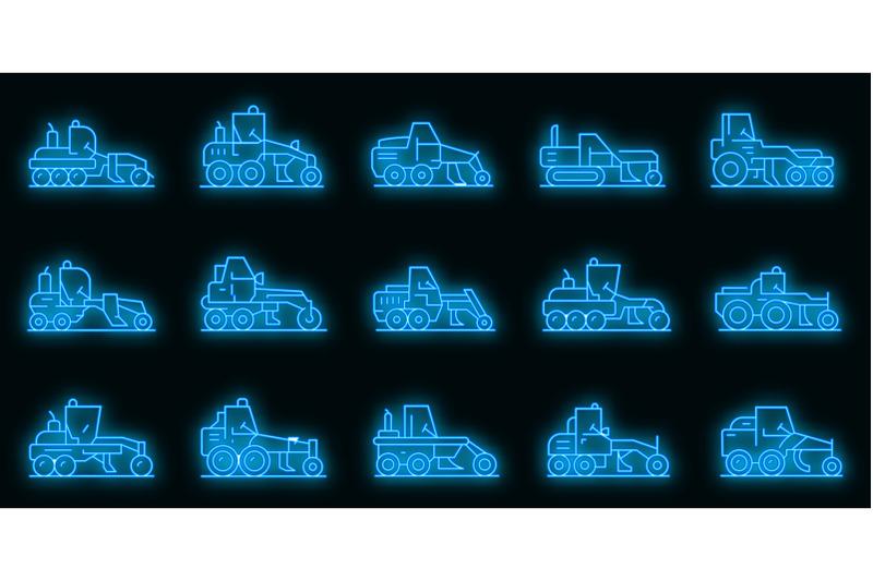 grader-machine-icons-set-vector-neon