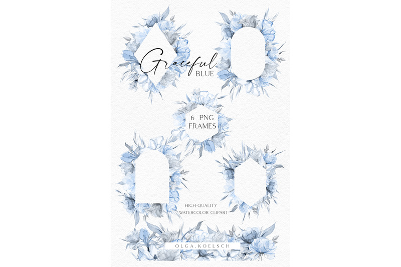 dusty-blue-roses-clipart-boho-navy-blue-frames-floral-borders-png